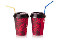 Red paper Cup to drink with straw Stock Photo