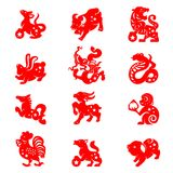 Red paper cut 12 animals zodiac illustration vector set design stock illustration