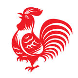 Red paper cut a chicken bantam zodiac symbols Royalty Free Stock Photography