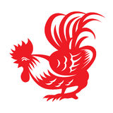 Red paper cut a chicken bantam zodiac symbols Stock Images