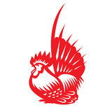 Red paper cut a chicken bantam zodiac symbols Royalty Free Stock Photo