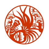 Red paper cut a chicken rooster in circle zodiac symbols Stock Photos