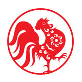 Red paper cut a chicken rooster crow zodiac symbols in circle frame vector design Stock Illustration