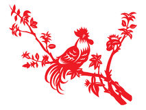 Red paper cut a chicken rooster crows on tree vector art design Royalty Free Stock Photography