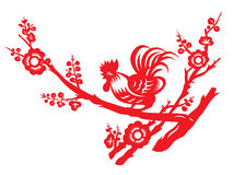 Red paper cut a chicken rooster crows on tree vector art design Royalty Free Stock Photos
