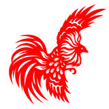Red paper cut a chicken rooster flying zodiac symbols Stock Photography