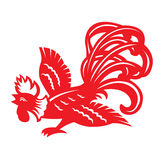 Red paper cut a chicken rooster zodiac symbols Stock Photos