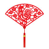 Red paper cut a chicken zodiac and flower in folding fans symbols Stock Photos