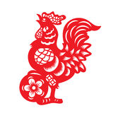 Red paper cut a chicken zodiac and flower symbols Stock Photos