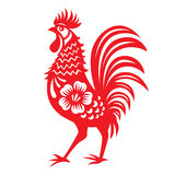 Red paper cut a chicken zodiac symbols Royalty Free Stock Photography