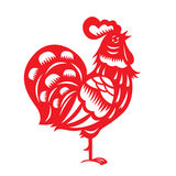 Red paper cut a chicken zodiac symbols Royalty Free Stock Image