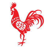 Red paper cut a chicken zodiac symbols Royalty Free Stock Images