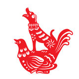 Red paper cut a Chinese dog on bird symbols Stock Photos