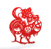 Red paper cut a cock zodiac symbols Royalty Free Stock Photography
