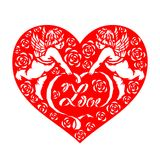 Red paper cut couples cupid hold love text ribbon and rose in heart vector design Stock Images