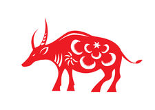 Red paper cut a cow zodiac symbols Stock Photography