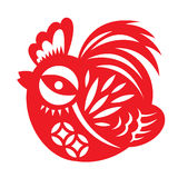 Red paper cut a cute chicken bantam zodiac symbols Royalty Free Stock Photography