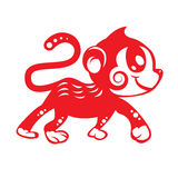 Red paper cut Cute monkey zodiac symbol (kids monkey) Stock Image