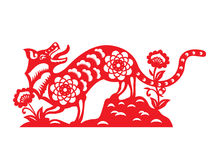 Red paper cut a dog zodiac and flower on earth symbols Stock Image