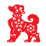 Red paper cut a dog zodiac and flower symbols Royalty Free Stock Photos