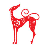 Red paper cut a dog zodiac and flower symbols Royalty Free Stock Image