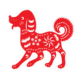Red paper cut a dog zodiac and flower symbols Stock Photos