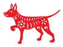 Red paper cut a dog zodiac and flower symbols Stock Photo