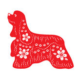 Red paper cut a dog zodiac and flower symbols Stock Photography