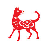 Red paper cut a dog zodiac symbols Royalty Free Stock Photography