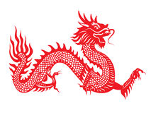 Red paper cut Dragon china zodiac symbols Royalty Free Stock Photography
