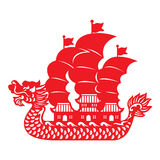 Red paper cut Dragon Chinese junk boat vector design Royalty Free Stock Photo