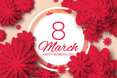 Red Paper Cut Flower. 8 March. Origami Women`s Day. Circle Frame. Space for text Royalty Free Stock Image
