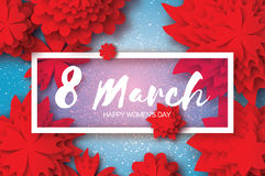 Red Paper Cut Flower. 8 March. Origami Women`s Day. Rectangle Frame. Space for text Royalty Free Stock Photos