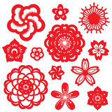 Red paper cut flowers china vector set design Stock Images