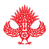 Red paper cut Front chicken rooster zodiac symbols Stock Images