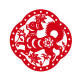 Red paper cut a happy dog zodiac in frame and flower symbols Royalty Free Stock Images