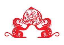 Red paper cut monkey zodiac symbol (2 monkey holding peach) Stock Photography
