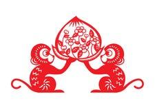 Red paper cut monkey zodiac symbol (2 monkey holding peach) Stock Photography