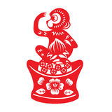 Red paper cut monkey zodiac symbol (monkey holding peach on china money) Royalty Free Stock Photography