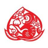 Red paper cut monkey zodiac symbol (monkey holding peach in peach) Stock Photos
