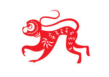 Red paper cut a monkey zodiac symbols stock image