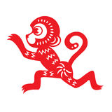 Red paper cut a monkey zodiac symbols vector design Royalty Free Stock Images