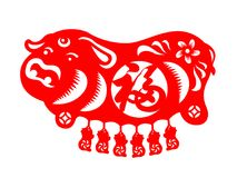 Red paper cut Mother pig and Piggy zodiac sign isolate on white background vector design Chinese word mean Good Fortune Royalty Free Stock Image