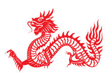 Red paper cut out of a Dragon china zodiac symbols Royalty Free Stock Photography