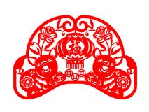Red paper cut pig twin holding china money and coin and lantern in flower frame vector art sign design Chinese word mean blessing Royalty Free Stock Photo