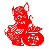 Red paper cut pig zodiac and Gift Bag sign Chinese word mean blessing sign isolate on white background vector design Royalty Free Stock Photos