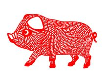 Red paper cut pig zodiac sign isolate on white background vector design Royalty Free Stock Images