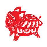 Red paper cut pig zodiac sign isolate on white background vector design Stock Photos