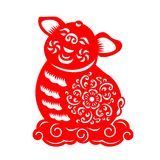 Red paper cut pig zodiac Sit on cloud sign isolate on white background vector design Royalty Free Stock Photos