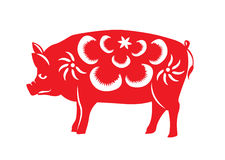 Red paper cut a pig zodiac symbols Stock Photography